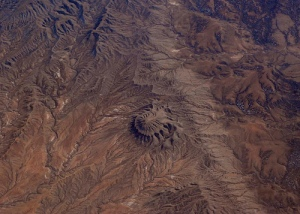 Aerial view of natural geological formation somewhere in southwestern Colorado, due east of Egnar and south of Naturita. Coordinates 37.91219123585559,-108.597316688116.