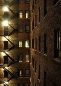 Allerton Hotel, Chicago, air shaft at night