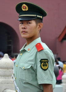 "Photo of a guard at the Forbidden City in Beijing, just before he told me ""No photos."" I was not detained."