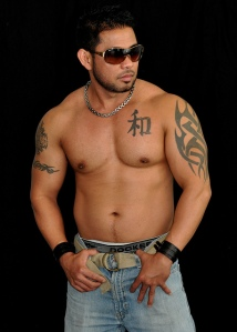 Shirtless male model with sunglasses
