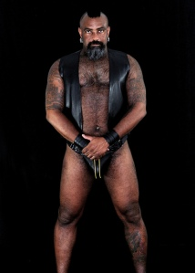 Male model in leather vest and codpiece
