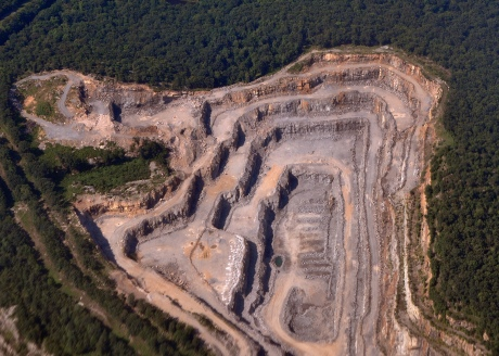 Aerial view of a rock quarry in upstate New York