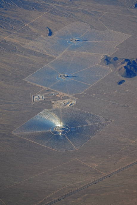 Aerial view of Ivanpah Solar array