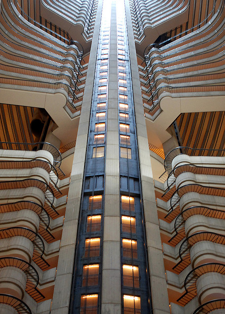 Elevator bank and walkways of the Marriott Marquis in Atlanta, Georgia.