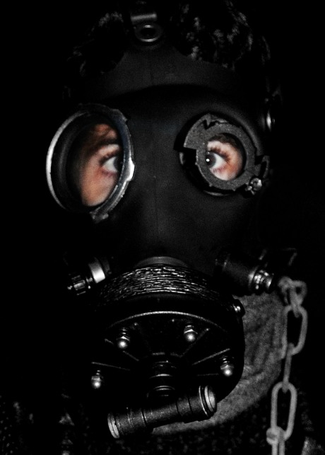 Model in a gas mask