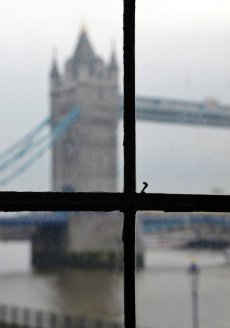 Tower Bridge viewed through a window