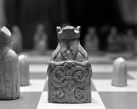 Close-up view of Lewis Chessmen in the British Museum