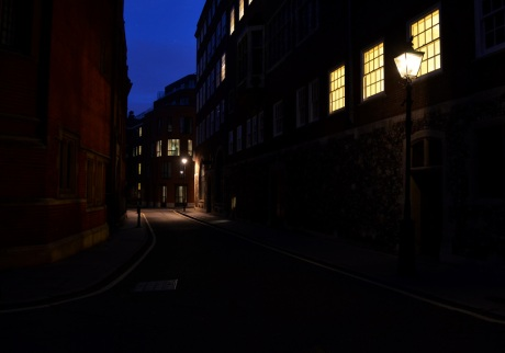 Gaslit street in Westminster, London