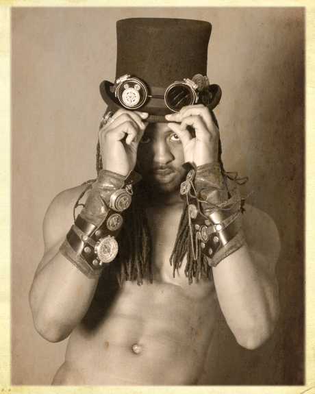 Shirtless male model in Steampunk gear