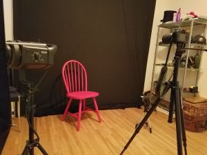 The Old Red Chair in my studio, ready for its close-up